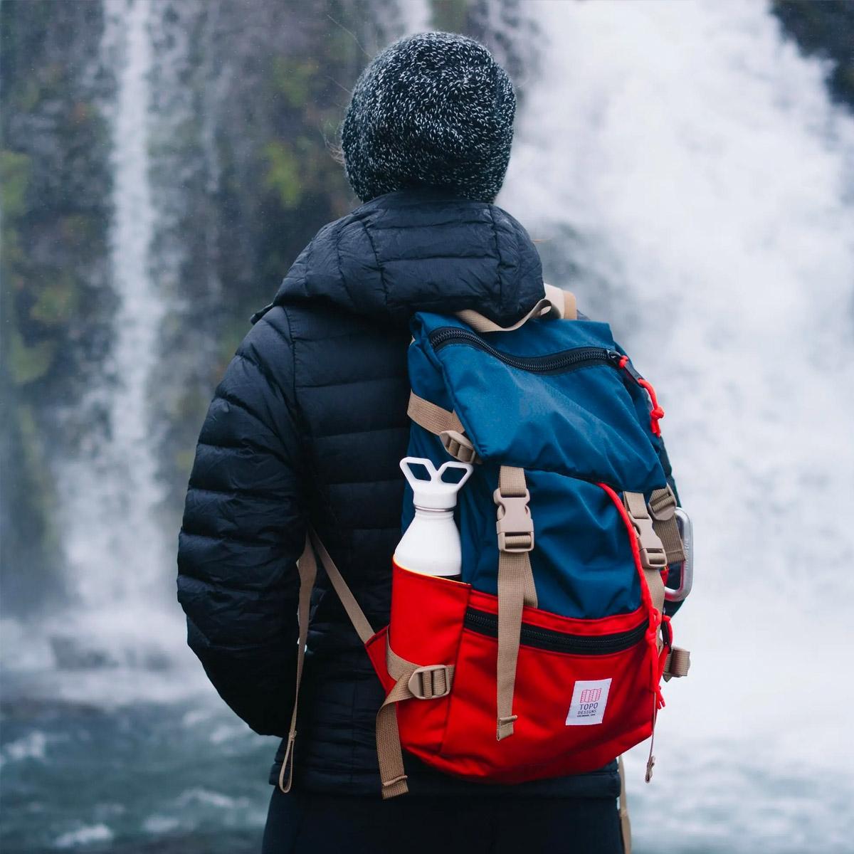 Topo Designs Rover Pack Navy/Red, duurzame, lichtgewicht en waterbestendige rugzak voor dagelijks gebruik