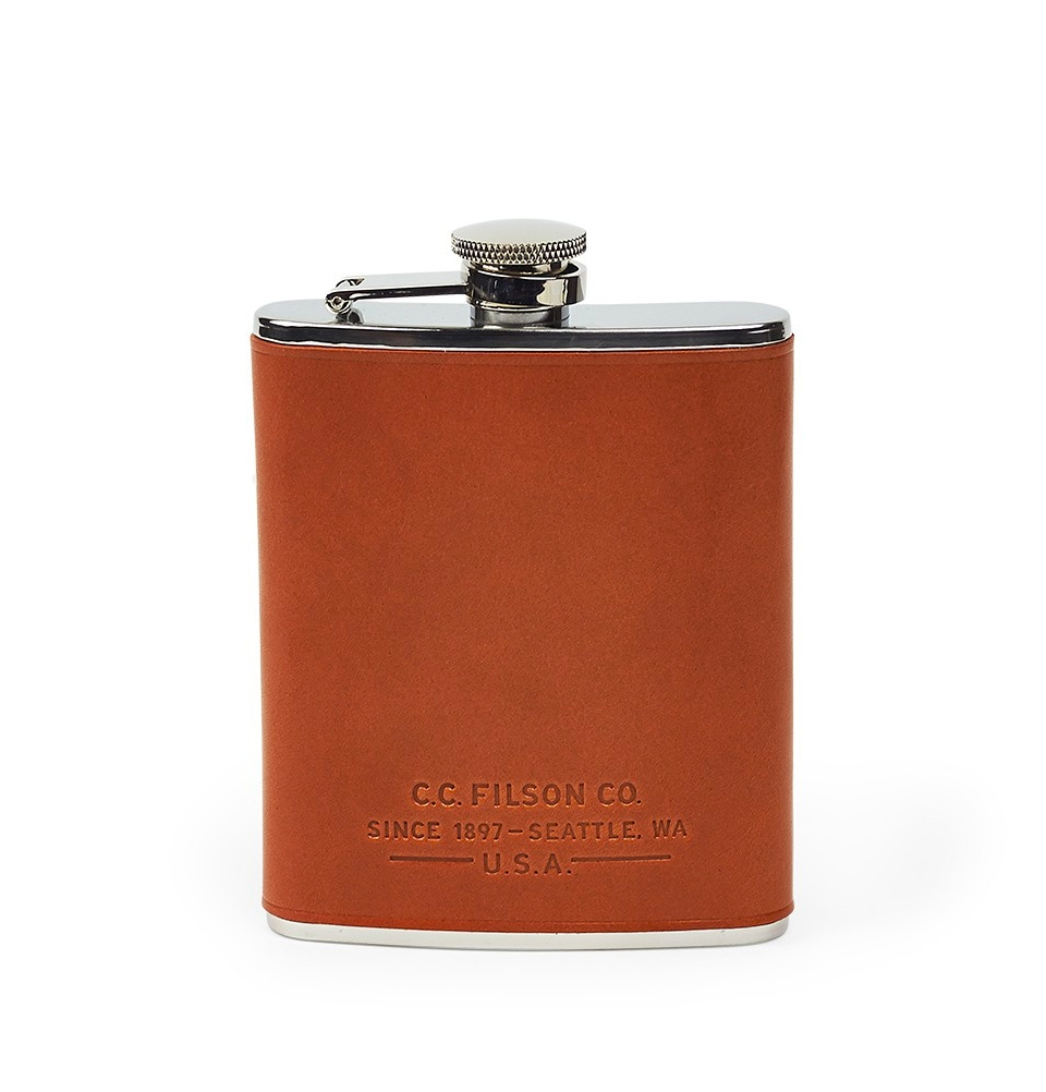 Filson Flask 11069201-Dark Tan  (Leather Wrapped Flask)