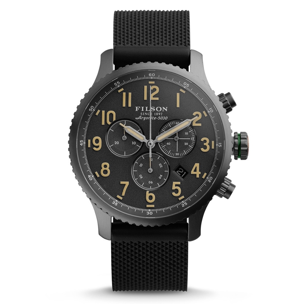 Filson Mackinaw Field Chrono Watch 10000310 Gray Dail - Rubber Strap