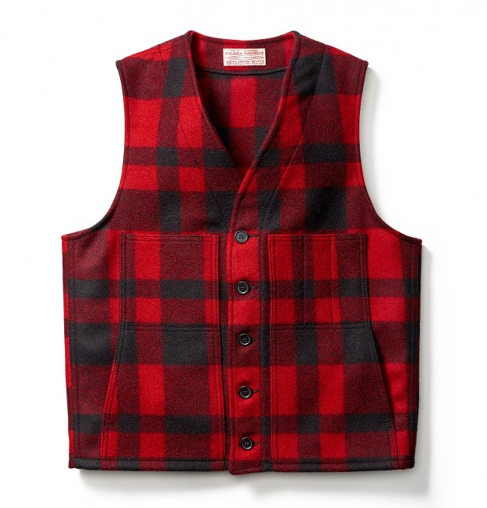 Filson Mackinaw Wool Vest Red/Black Plaid