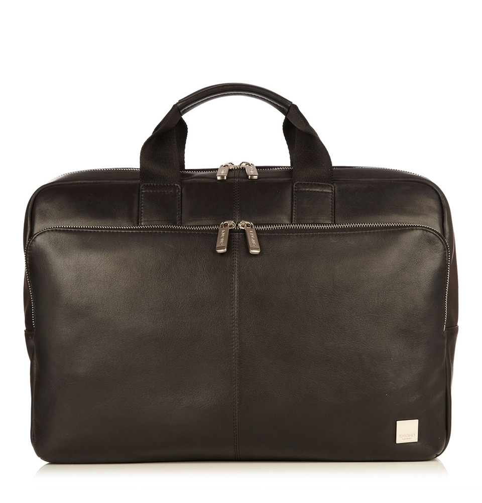 "Knomo Newbury 15"" Single Zip Leather Briefcase Black"