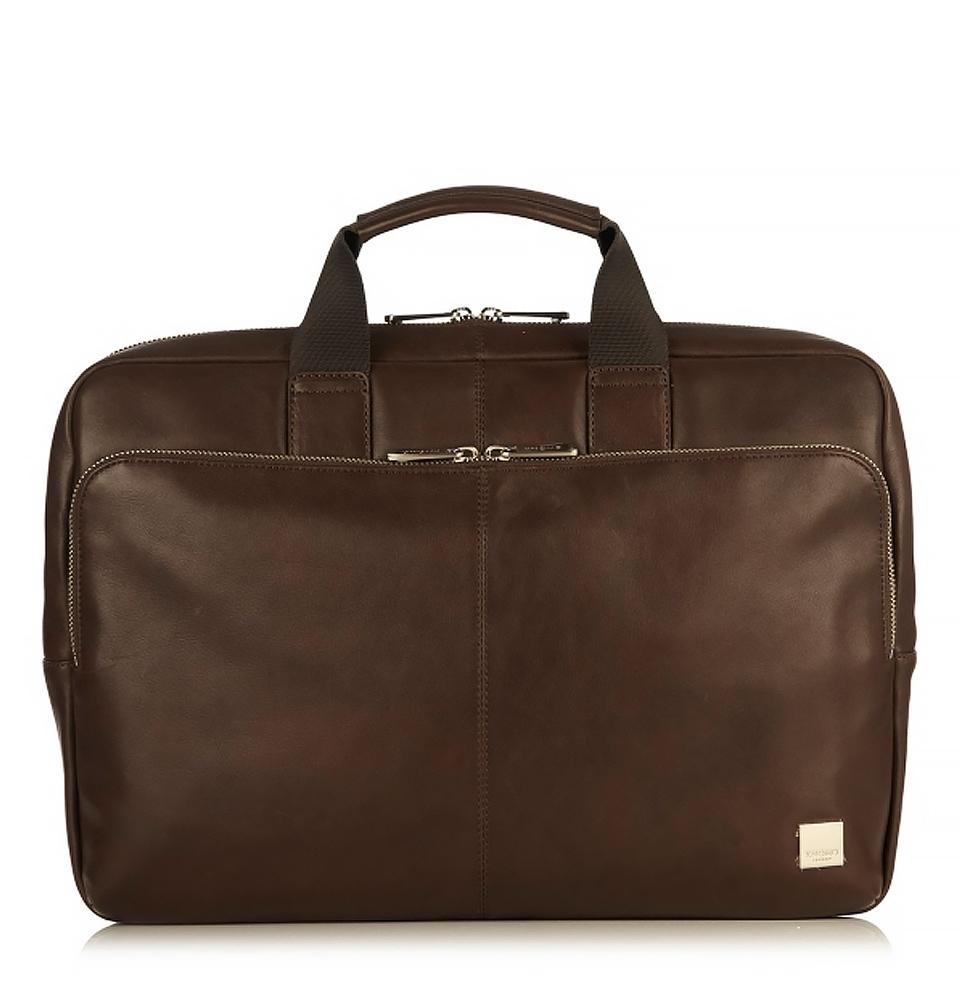 "Knomo Newbury 15"" Single Zip Leather Briefcase Brown"