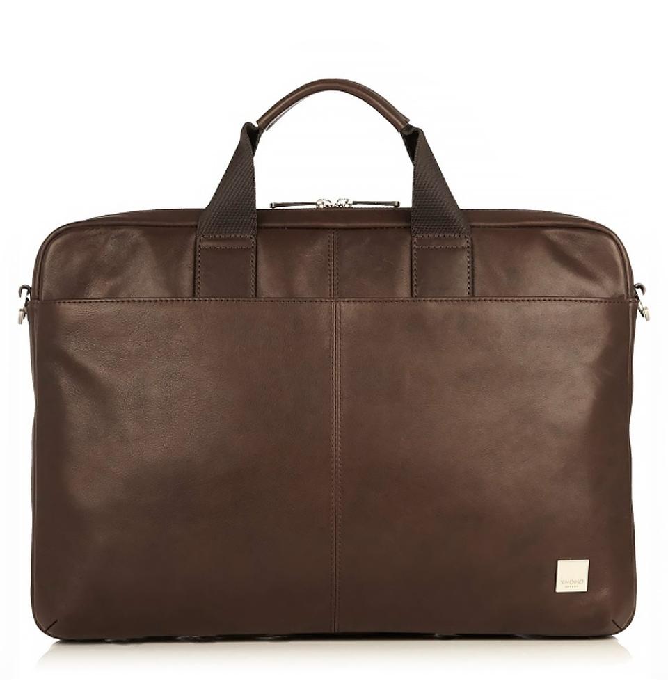 """Knomo Durham 15.6"""" Slim Leather Brief Brown"""