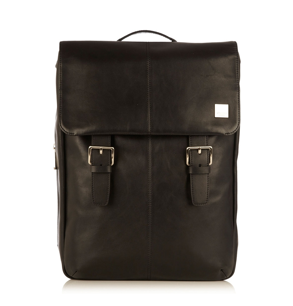 "Knomo Hudson 15"" Leather Backpack Black"