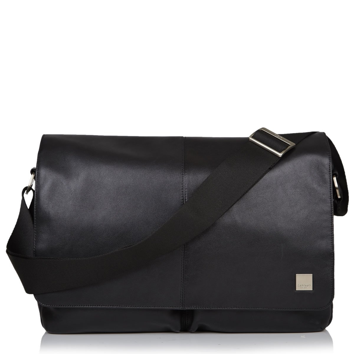"Knomo Kobe 15"" Soft Leather Messenger Bag Black"