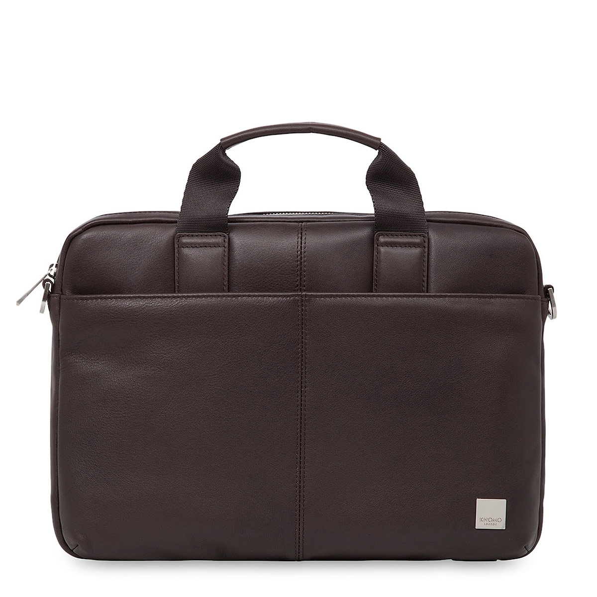 "Knomo Stanford 13"" Small Leather Briefcase Brown"