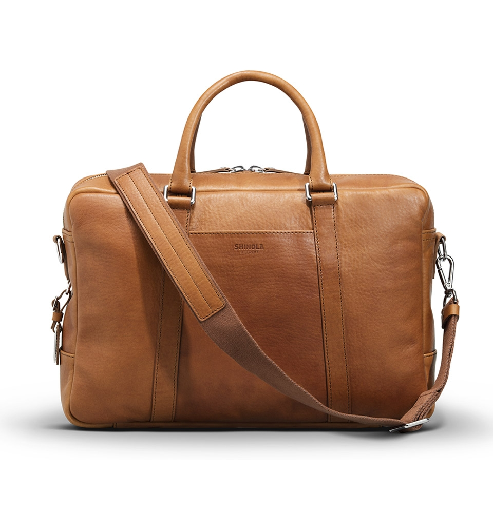 Shinola Slim Briefcase Bourbon