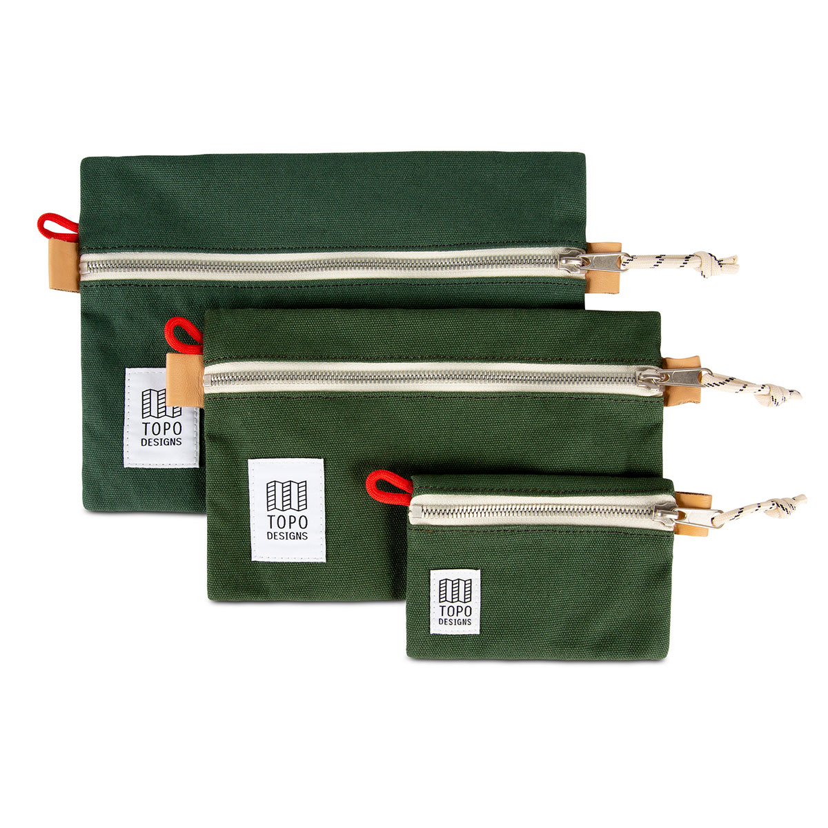 Topo Designs Accessory Bags 3 Pack Canvas Forest