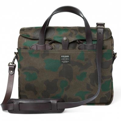 Filson Waxed Rugged Twill Original Briefcase 20226928-Dark Wax Shrub Camo front