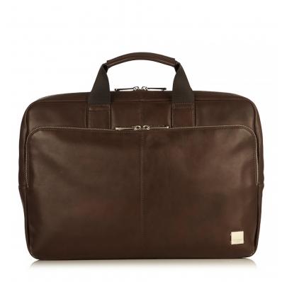 """Knomo Newbury 15"""" Top Zip Briefcase Brown"""