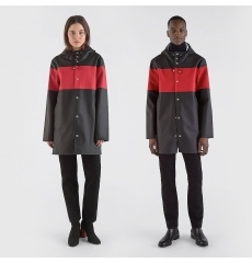 Stutterheim Stockholm Raincoat Stripe Black Red