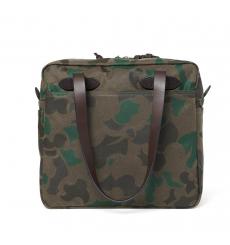 Filson Tote Bag With Zipper Dark Wax Shrub Camo front