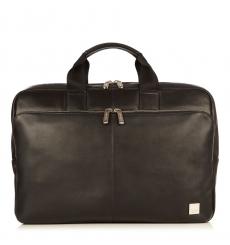 """Knomo Newbury 15"""" Top Zip Briefcase Black"""