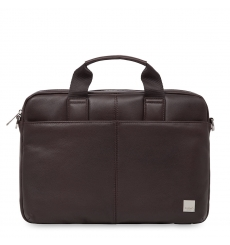"Knomo Stanford 13"" Small Leather Briefcase Brown Briefcase"