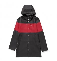 Stutterheim Stockholm Raincoat Stripe Black Red