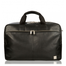 "Knomo Amesbury 15.6"" Double Zip Leather Briefcase Black"