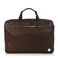 "Knomo Amesbury 15.6"" Double Zip Leather Briefcase Brown"