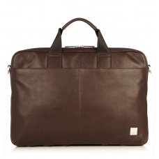 "Knomo Durham 15.6"" Slim Leather Brief Brown"