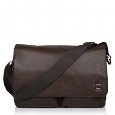 "Knomo Kobe 15"" Soft Leather Messenger Bag Brown"