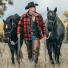 Filson Mackinaw Cruiser Jacket Red Black lifestyle with horses