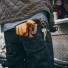Filson Original Lined Goatskin Gloves 11062022-Tan with jeans