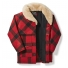 Filson Wool Packer Coat Red/Black Plaid open