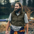 Filson Ultralight Vest Olive Gray near the river