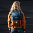 Topo Designs Rover Pack Heritage Navy/Brown Leather women carrying