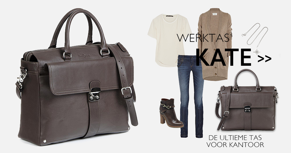 Leren dames laptoptas Kate Chocolate koop je bij BeauBags