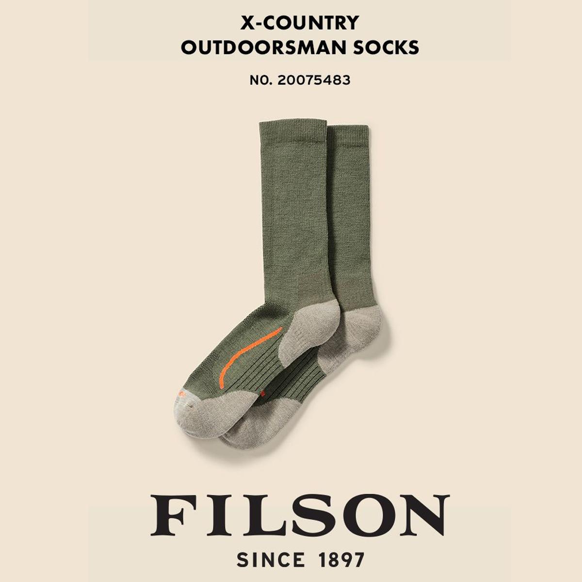 Filson X Country Outdoorsman Sock Green/Blaze, duurzame sok met een vochtafvoerende merinowolmix die je voeten droog en comfortabel houdt