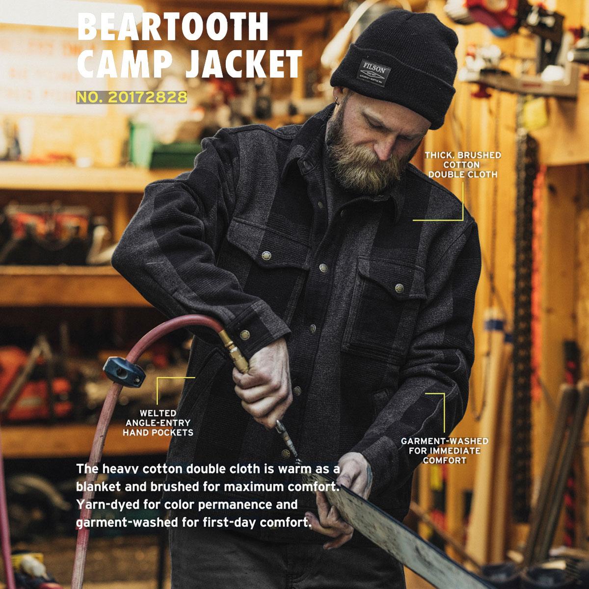 Filson Beartooth Camp Jacket Black/Gray Heather, gemaakt van zware, dubbellaags katoen voor kille herfstdagen en gemiddelde wintertemperaturen.