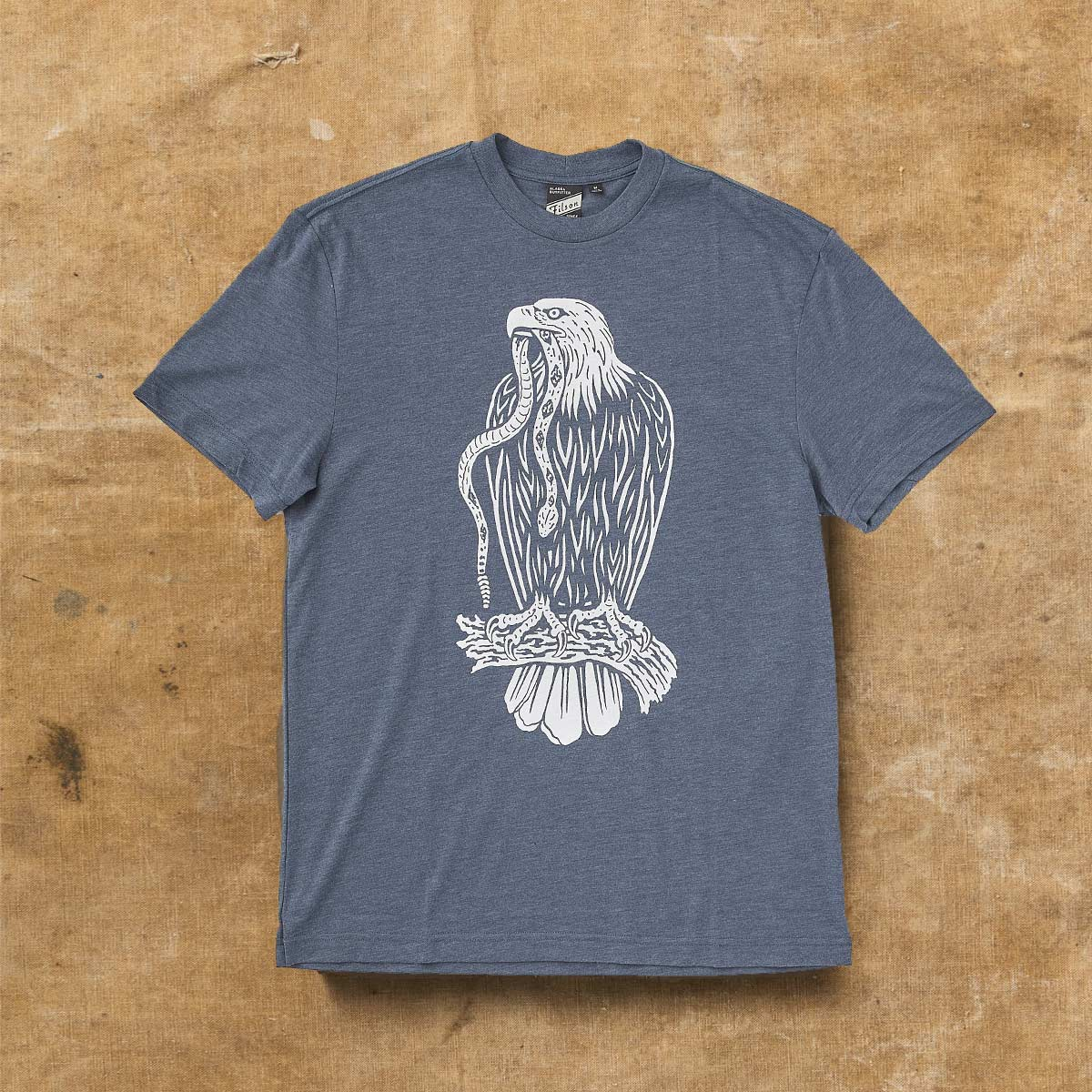 Filson Buckshot T-Shirt Navy Heather, hoogwaardig T-shirt met UPF 50+ zonwering