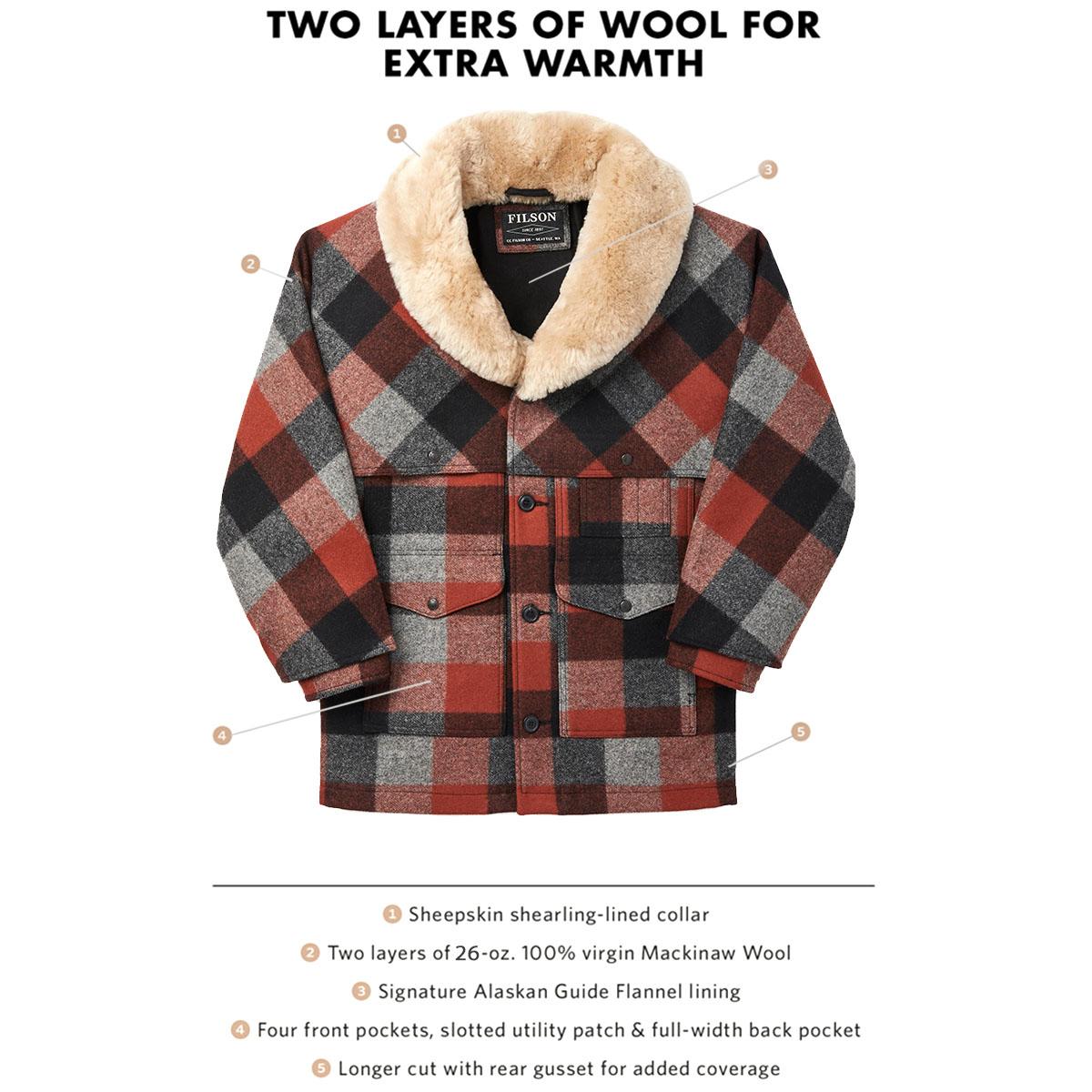 Filson Lined Wool Packer Coat Black/Charcoal/Rust, gemaakt met scheerwol voor comfort, natuurlijke waterafstotendheid en isolerende warmte in alle weersomstandigheden