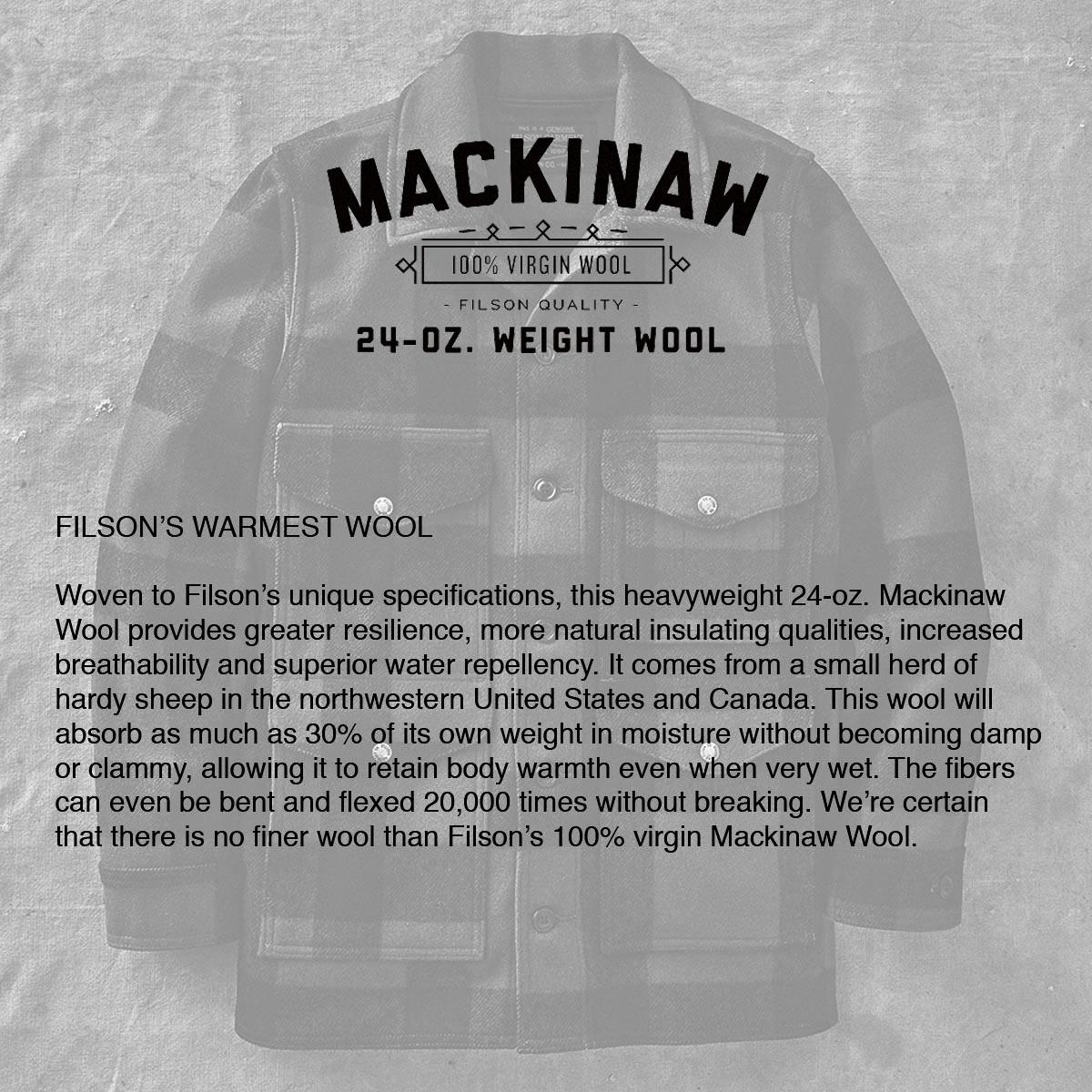 Filson Mackinaw Cruiser Jacket Charcoal, het vlaggenschip van Filson, gemaakt met extreem duurzame, regenafstotende 100% Virgin Mackinaw Wool, die je warm houdt, zelfs als het nat wordt.