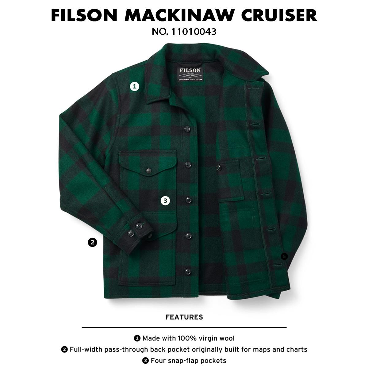 Filson Mackinaw Cruiser Jacket Green Black, gepatenteerd in 1914 en vandaag de dag nog steeds veel gevraagd.