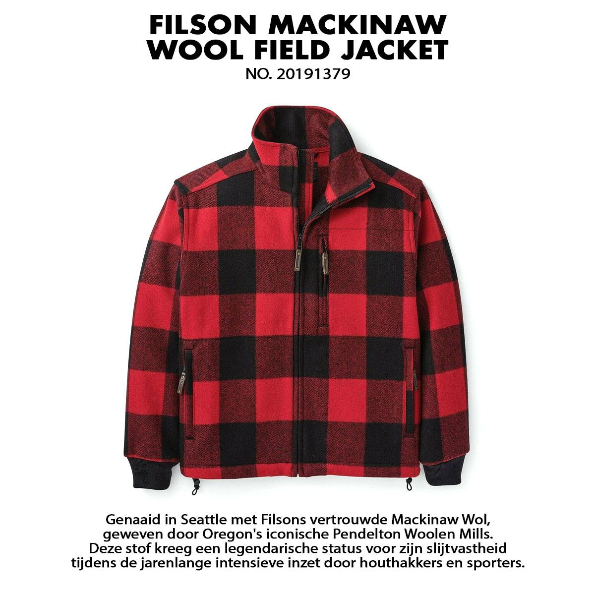 Filson Mackinaw Wool Field Jacket Red Black, gemaakt van 100% Mackinaw wol voor comfort, natuurlijke waterafstotendheid en isolerende warmte in alle weersomstandigheden.