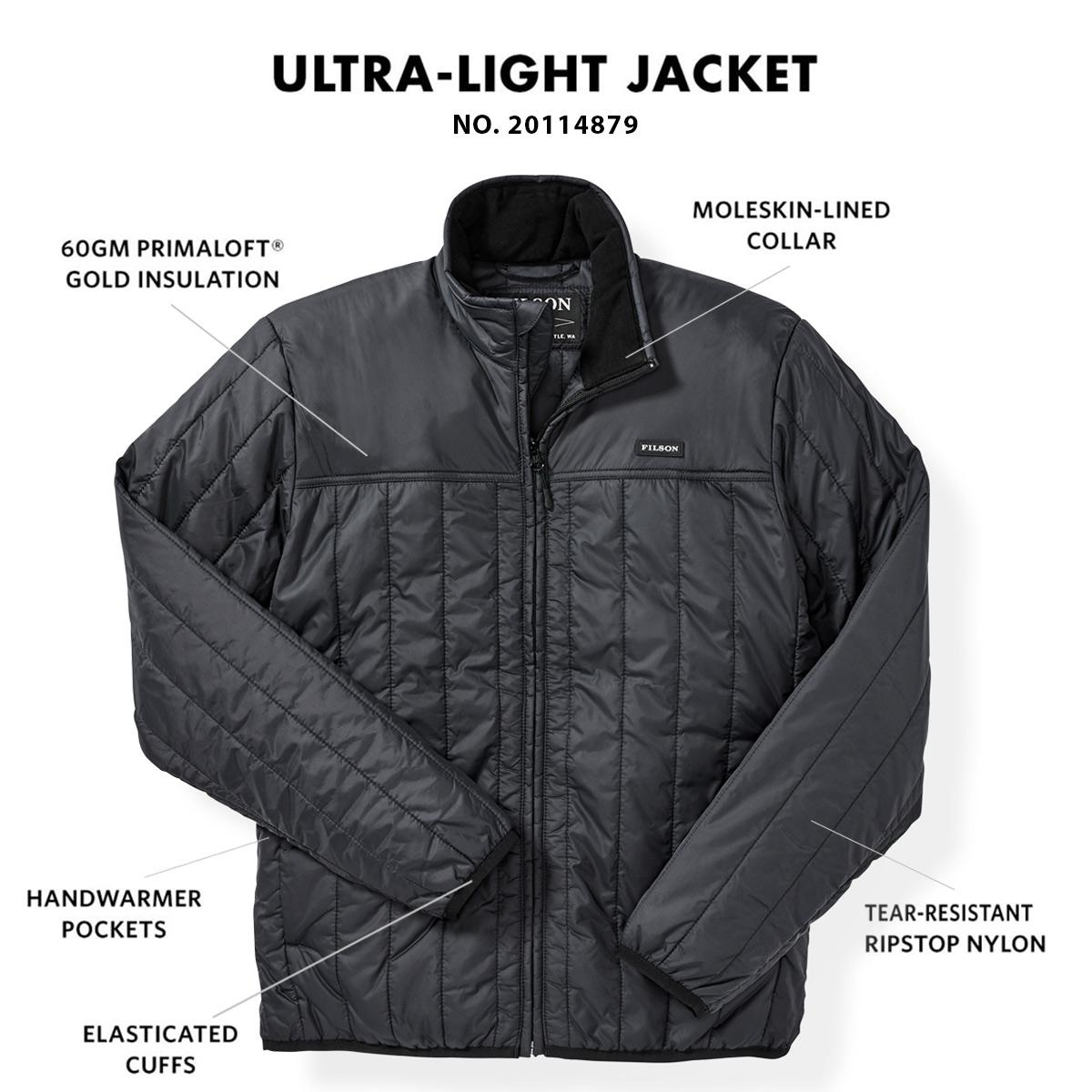 Filson Ultra Light Jacket Black, met Cordura® Ripstop nylon en 60gm PrimaLoft® Gold isolatie