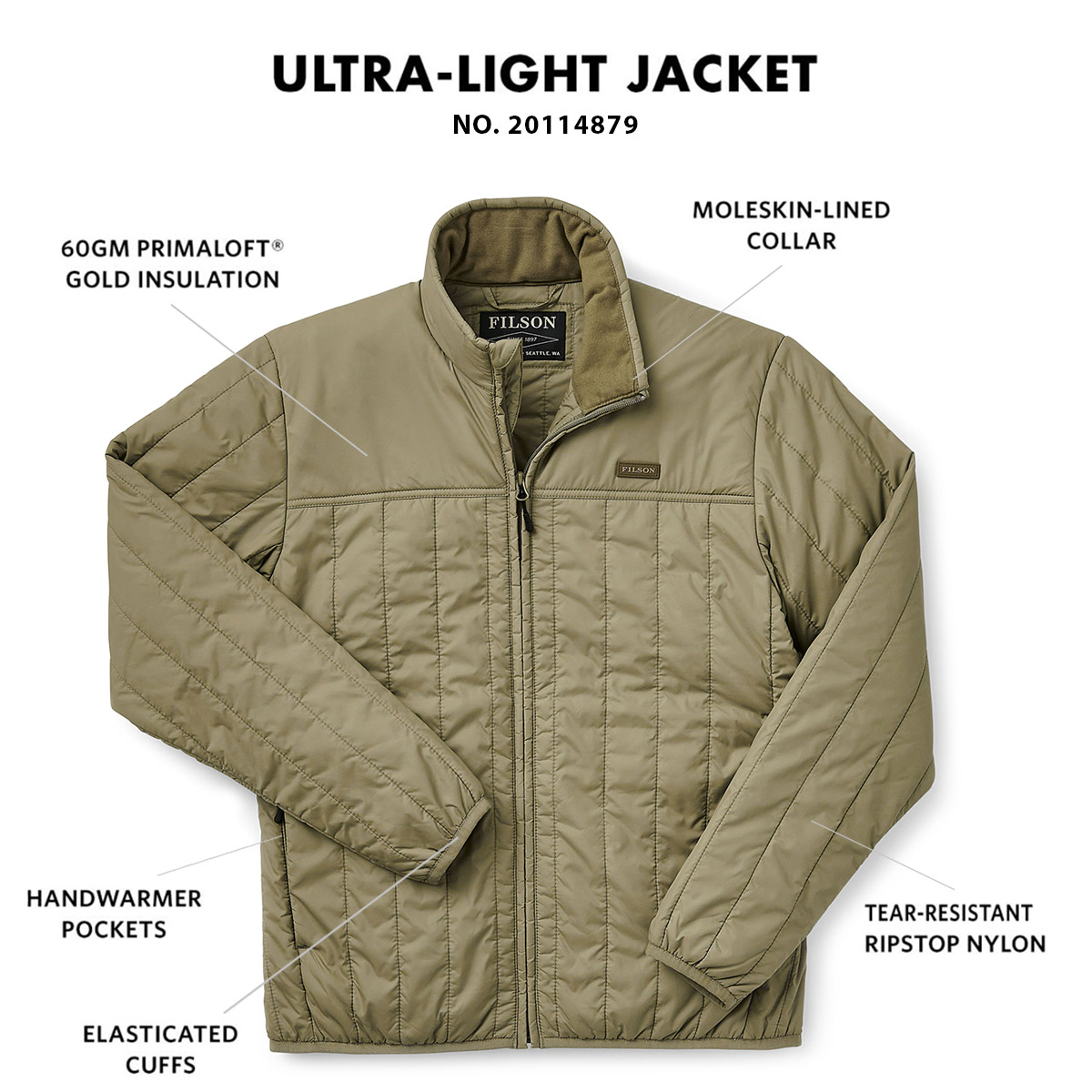 Filson Ultra Light Jacket Olive Branch, met Cordura® Ripstop nylon en 60gm PrimaLoft® Gold isolatie