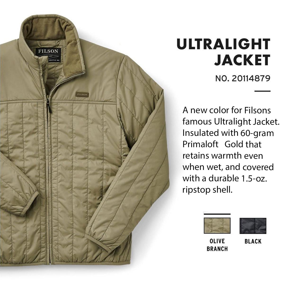 Filson Ultra Light Jacket Olive Branch, lichtgewicht jas met uitzonderlijke warmte-gewichtsverhouding