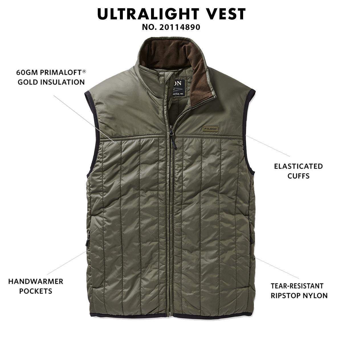 Filson Ultralight Vest Olive Gray, Ultralight PrimaLoft® Gold 60g jas met uitzonderlijke warmte-gewichtsverhouding