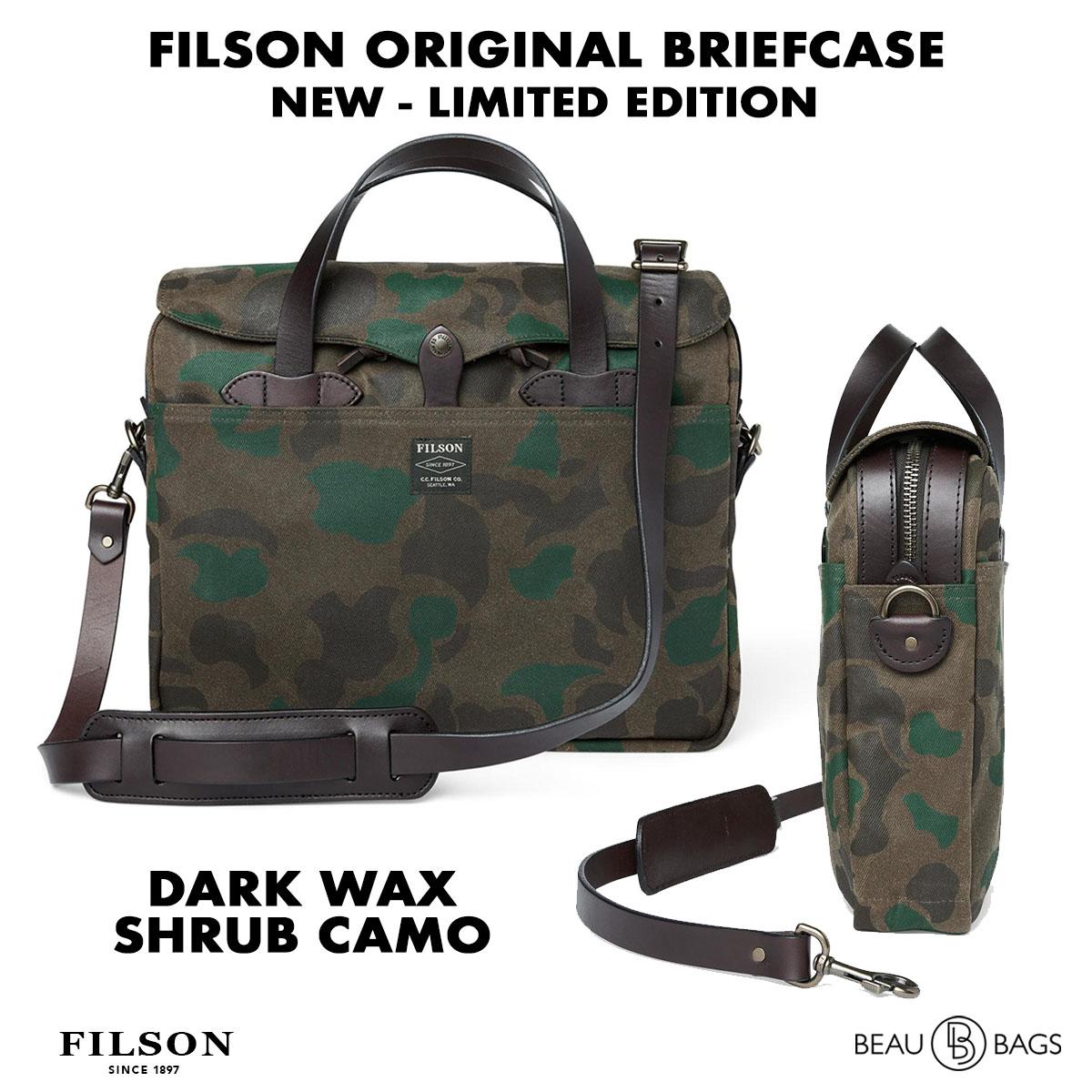 Filson Waxed Rugged Twill Original Briefcase 20226928-Dark Wax Shrub Camo, limited Edition Camo uitvoering