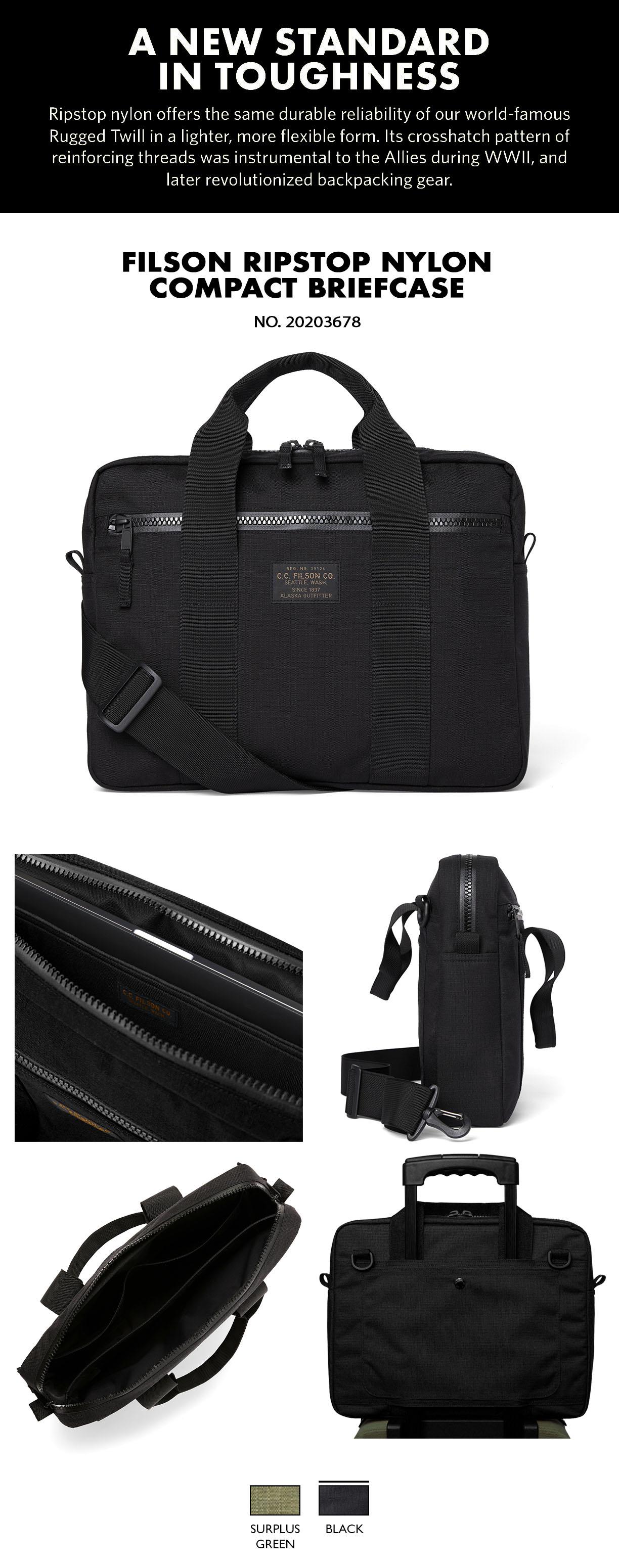 """Filson Ripstop Nylon Compact Briefcase Black Product-information, voorzien van een gevoerd vak voor maximaal 15"""" laptops"""
