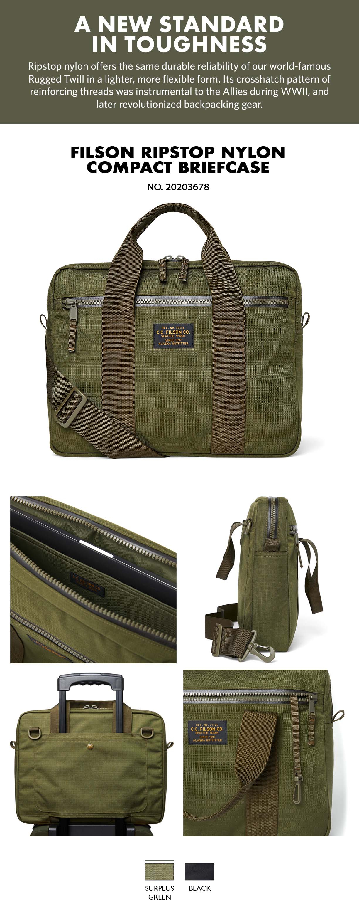 """Filson Ripstop Nylon Compact Briefcase Surplus Green Product-information, voorzien van een gevoerd vak voor maximaal 15"""" laptops"""