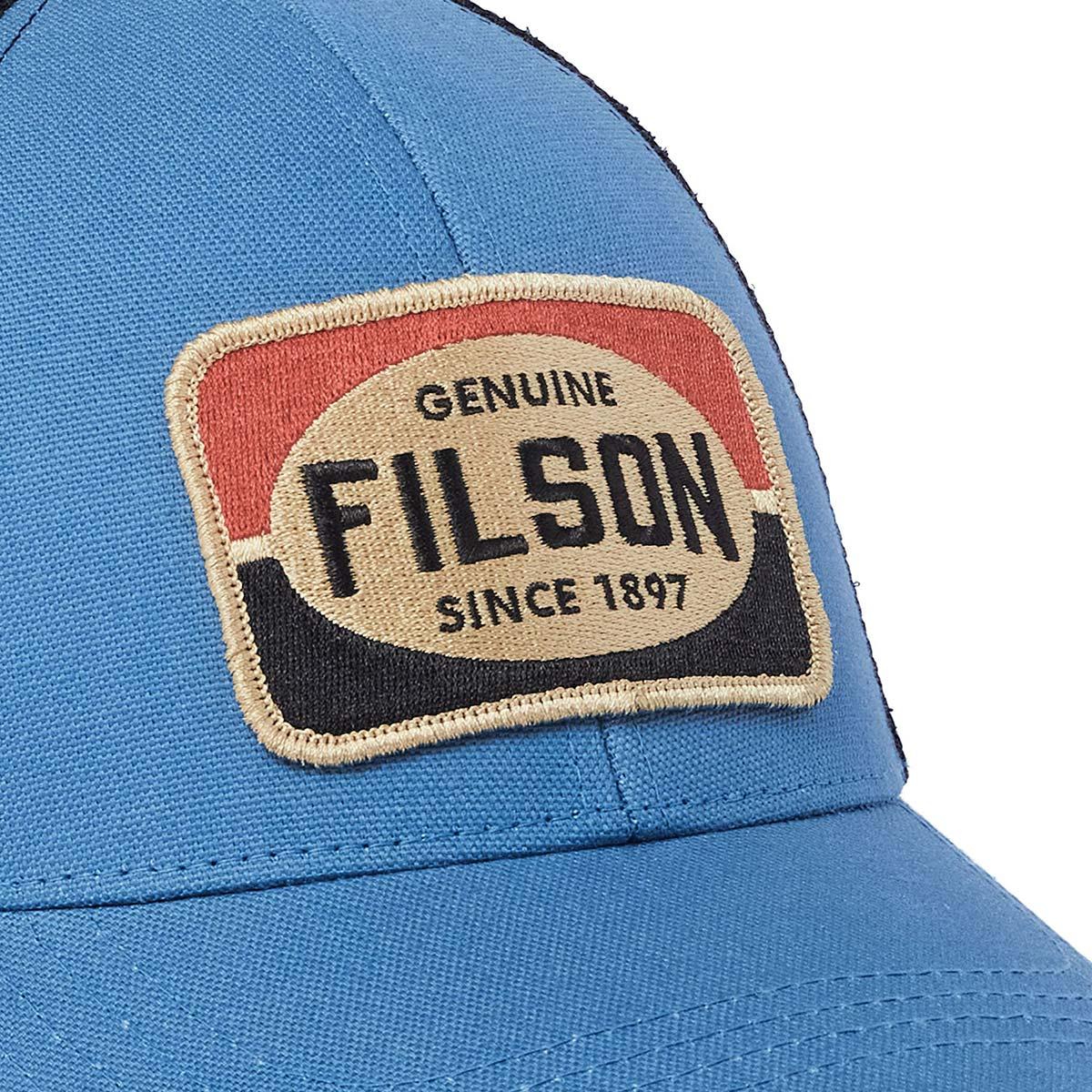 Filson Mesh Snap-Back Logger Cap 20189204-Blue, slijtvaste pet met geborduurd Filson logo patch en mesh-bescherming