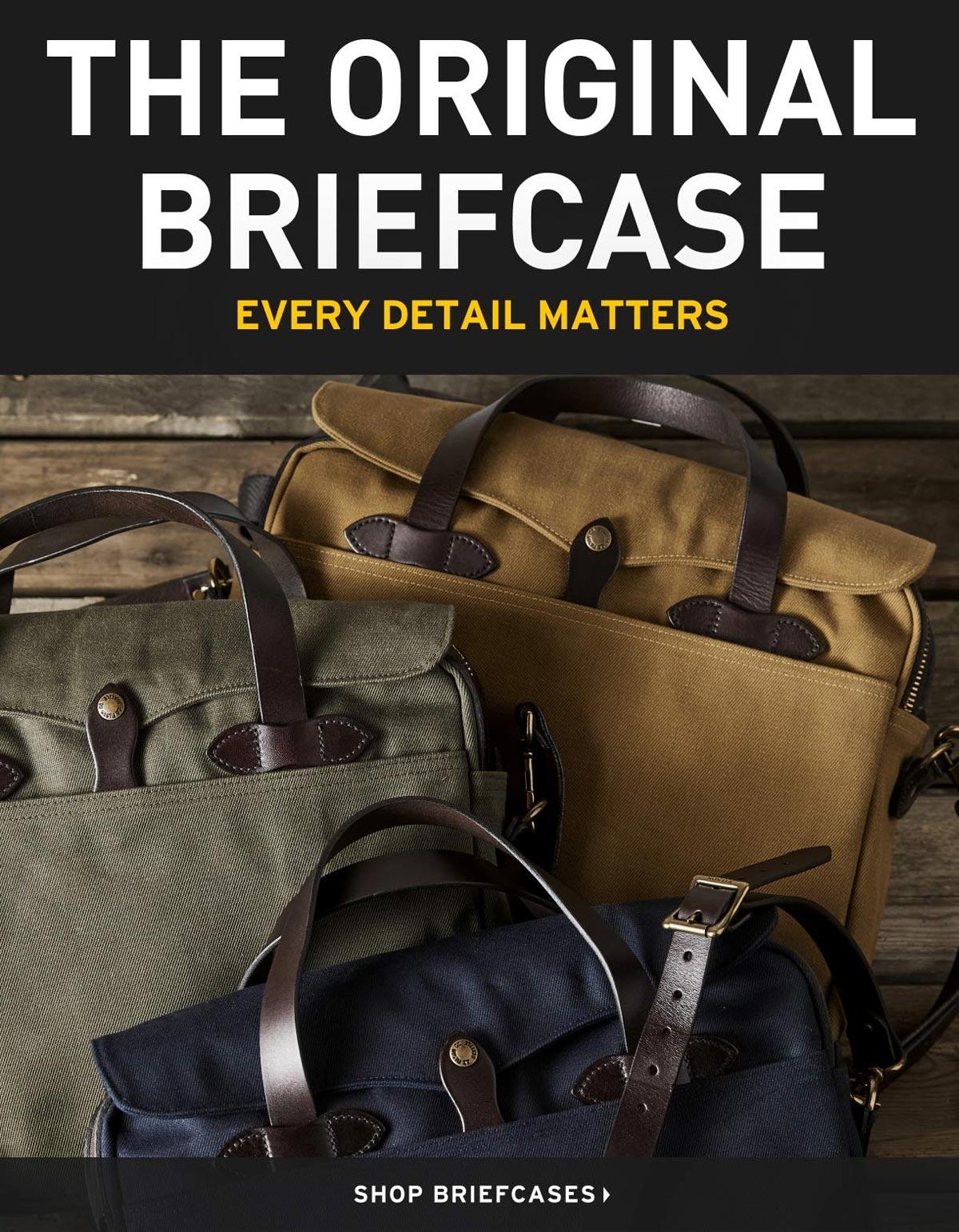 Filson Original Briefcase Navy, Tan en OtterGreen, wanneer elk detail telt