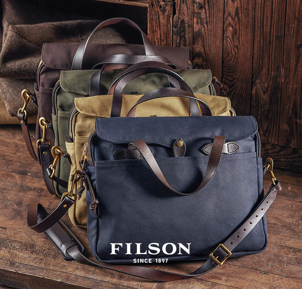 Filson Original Briefcase Navy Tan OtterGreen and Brown