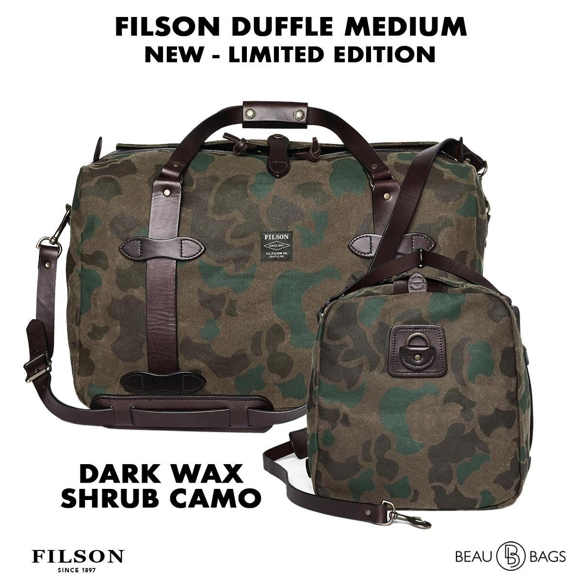 Filson Duffle Medium Dark Wax Shrub Camo, perfect voor een weekendje weg of een kleine zakenreis