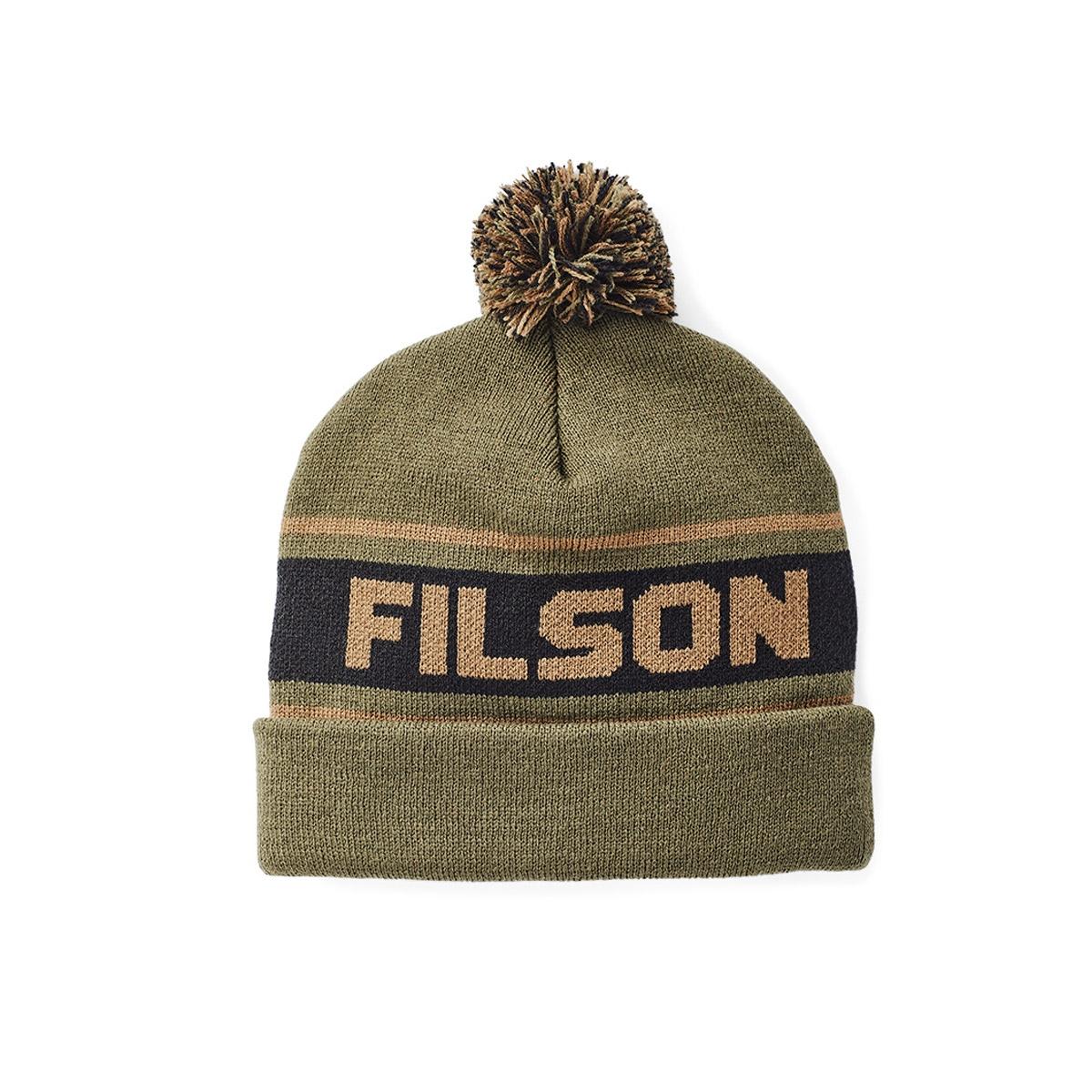 Filson Acrylic Logo Beanie Army Green, lichtgewicht en sneldrogend, ideaal voor regen en sneeuw