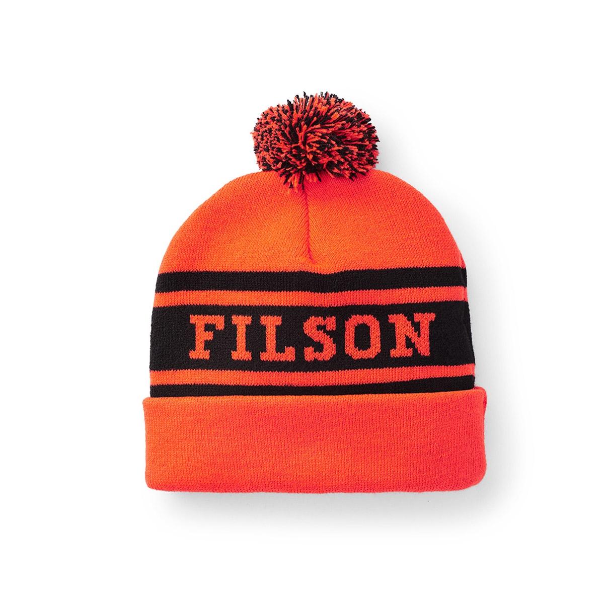 Filson Acrylic Logo Beanie Blaze Orange, lichtgewicht en sneldrogend, ideaal voor regen en sneeuw