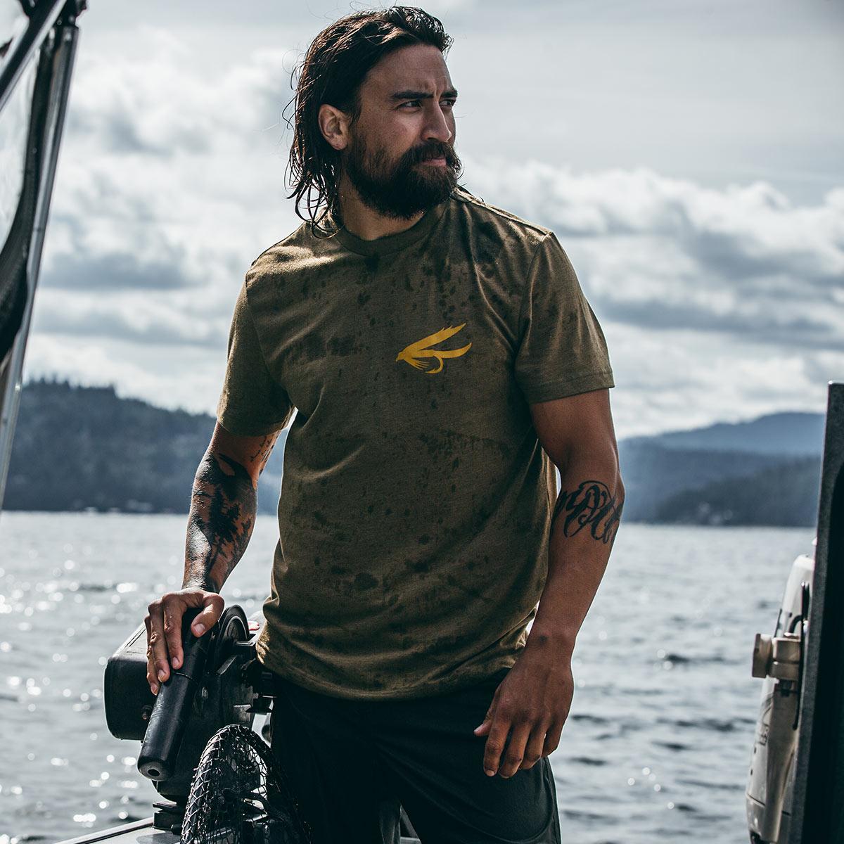 Filson Buckshot T-Shirt Olive Drab Heather, hoogwaardig T-shirt met UPF 50+ zonwering